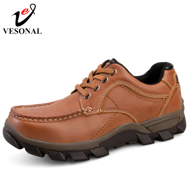 VESONAL Genuine Leather Casual Shoes Adult For Men Hot Sale 2017 New Autumn Winter Brand High