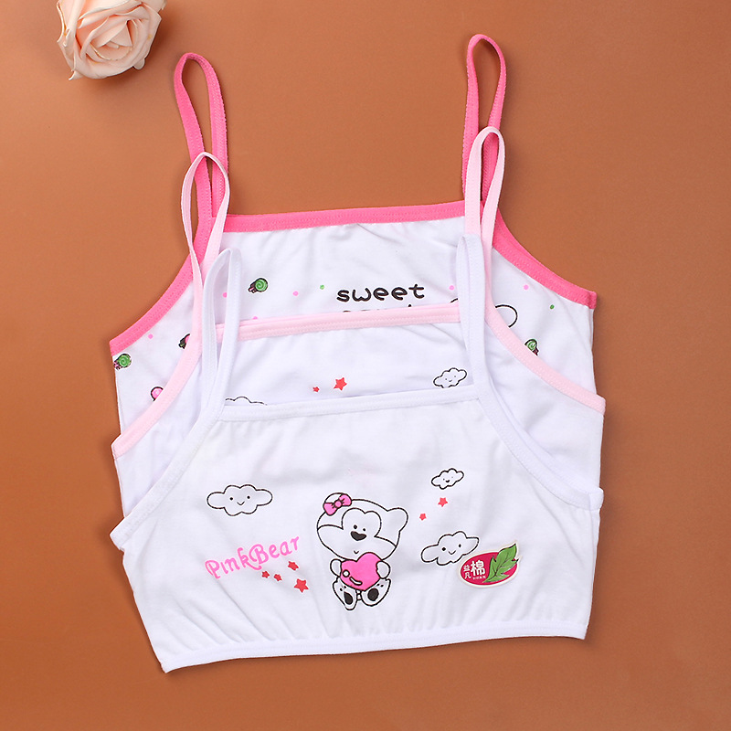 3PCS/LOTcotton Young Girls Training Bra 8-13 Years Old Children Bras Condole Belt Vest Kids Bra Camisole For Child