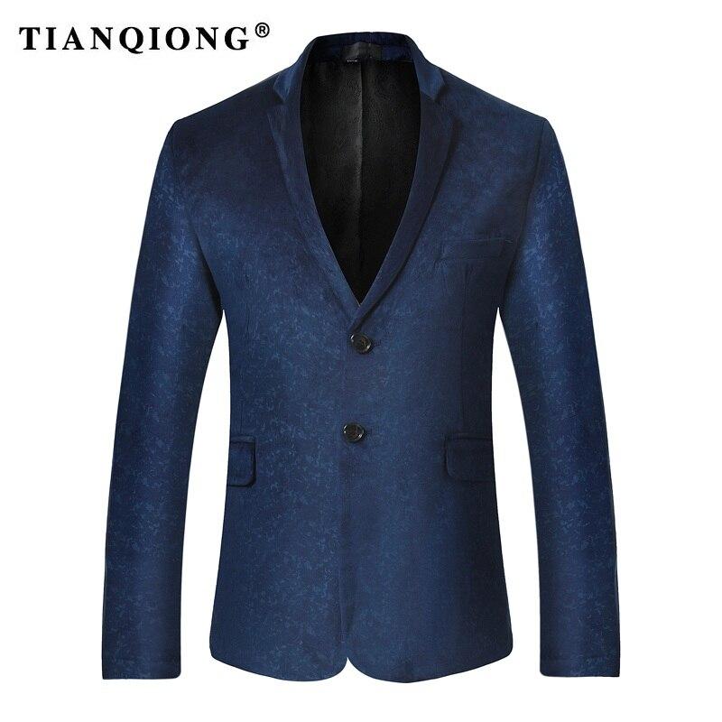 TIAN QIONG Mens Punk Style Blazer Slim Fit Suit Jacket Black Navy Blue Velvet 2018 Spring Autumn Outwear Coat Suits For Men