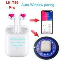 lk te9 pro w1 chip bluetooth earphone wireless headphones sport earbuds kulaklik with charging case for smart phone PK lk te8