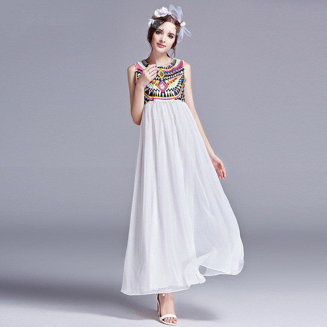 7b6ee45ee Women Indian Ethnic Printed Geometric Embroidery Bohemian Maxi Dress 2017  Summer Stitching Pleated Beach Party Chiffon Dresses