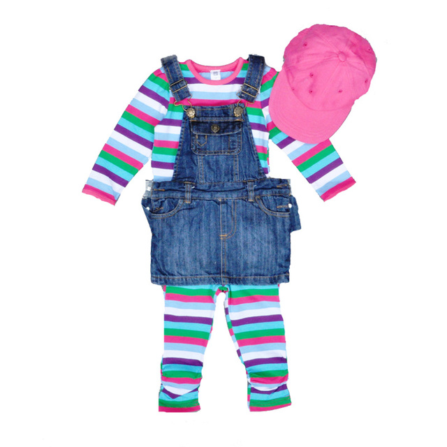 d19219d49ee High quality girl clothing set Chevron Stripe long sleeve top + rainbow  pants + suspender Denim dress + cap baby girl clothes