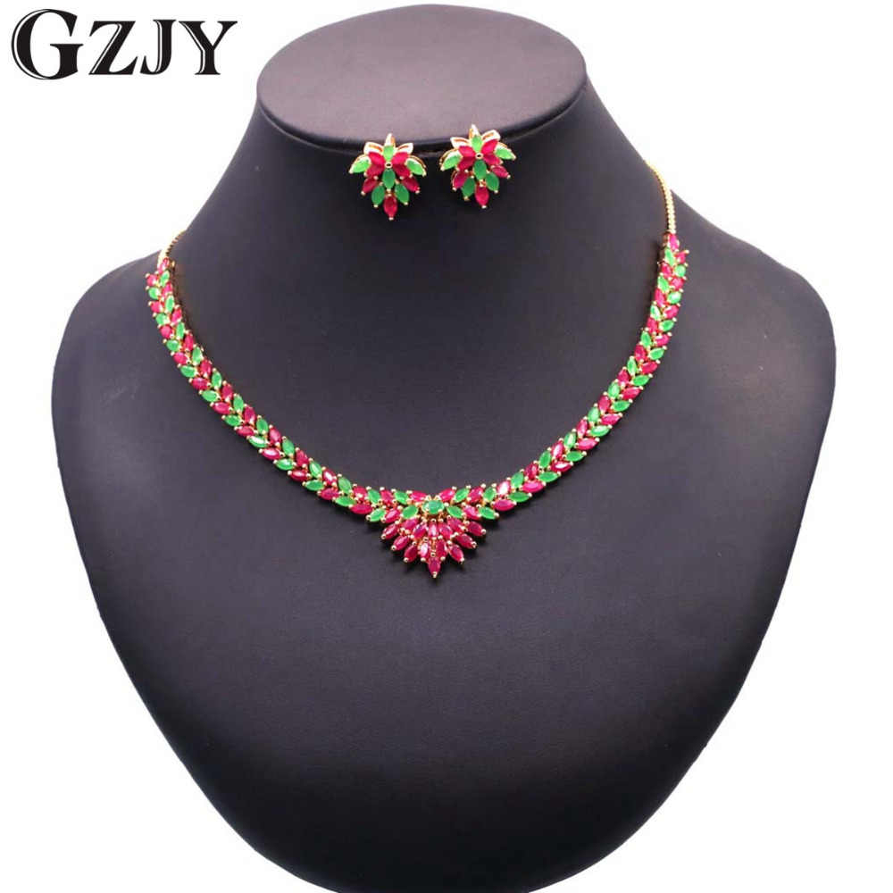 GZJY Luxury Bridal Gold Color Green Red AAA Zircon Necklace Earring Jewelry Set For Women Wedding Party Accessories Jewelry