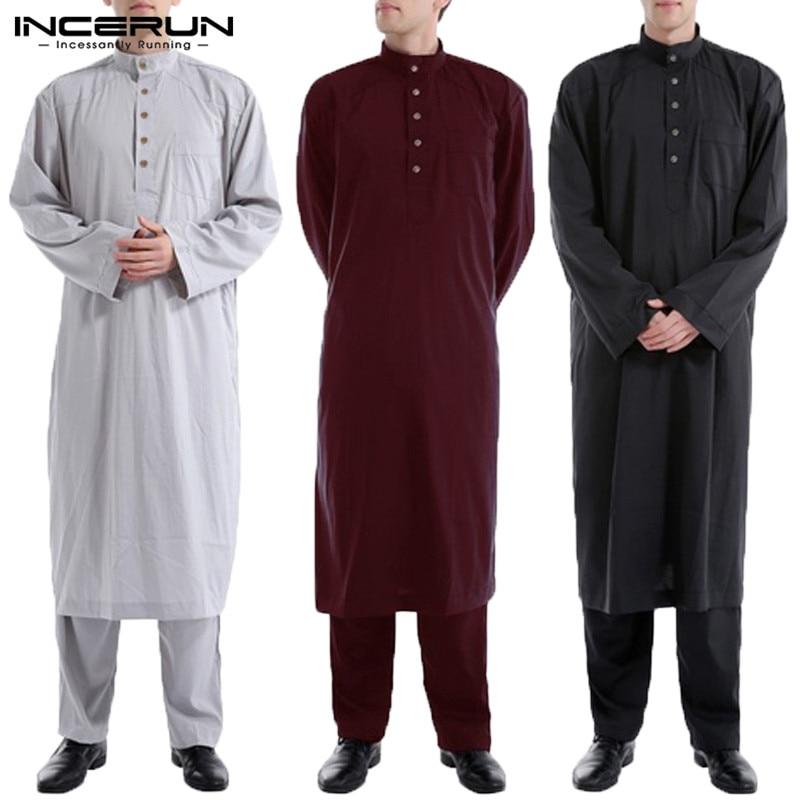 INCERUN 2020 Muslim Clothes Mens Robe Saudi Thobe Robe Kaftan Dress Camisas Masculina Saudi Arabia Full Length Robe LoungeWear