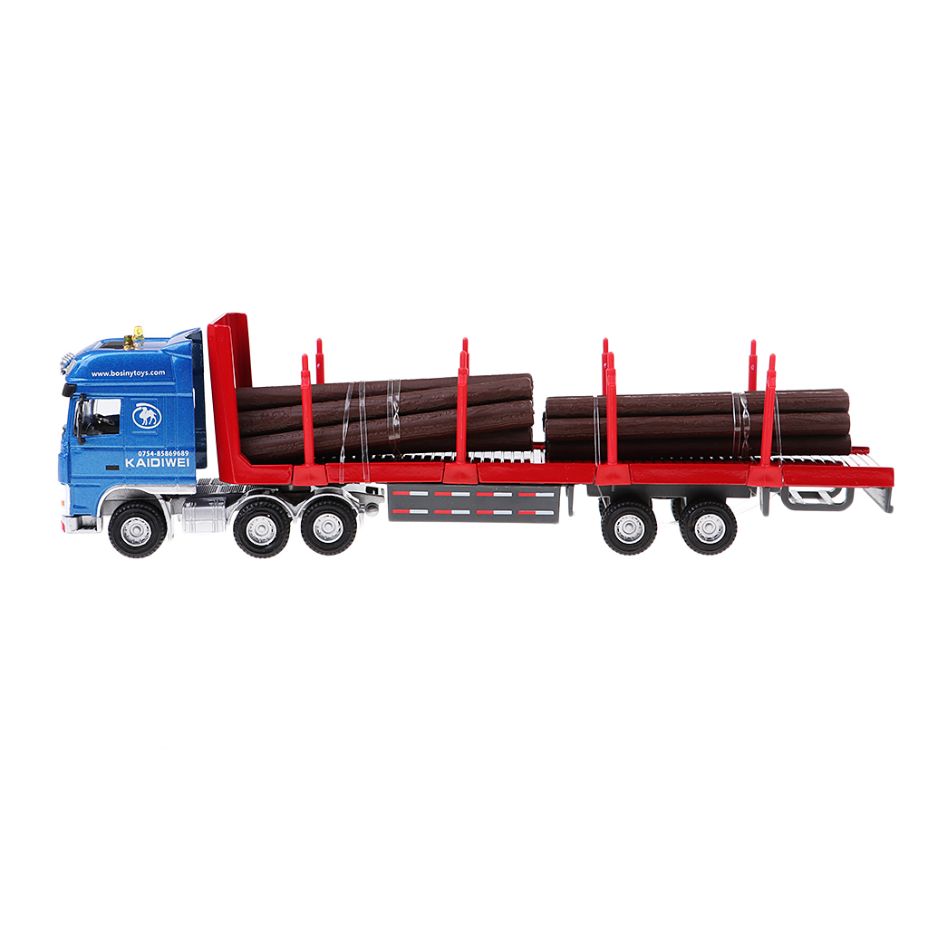 1/50 Die-Cast Contemporary Wood Transport Truck Car Trailer Model Kids Pull Push Vehicle Toy large size alloy die cast model toy tower slewing crane truck vehicle miniature car 1 50 gift for kids