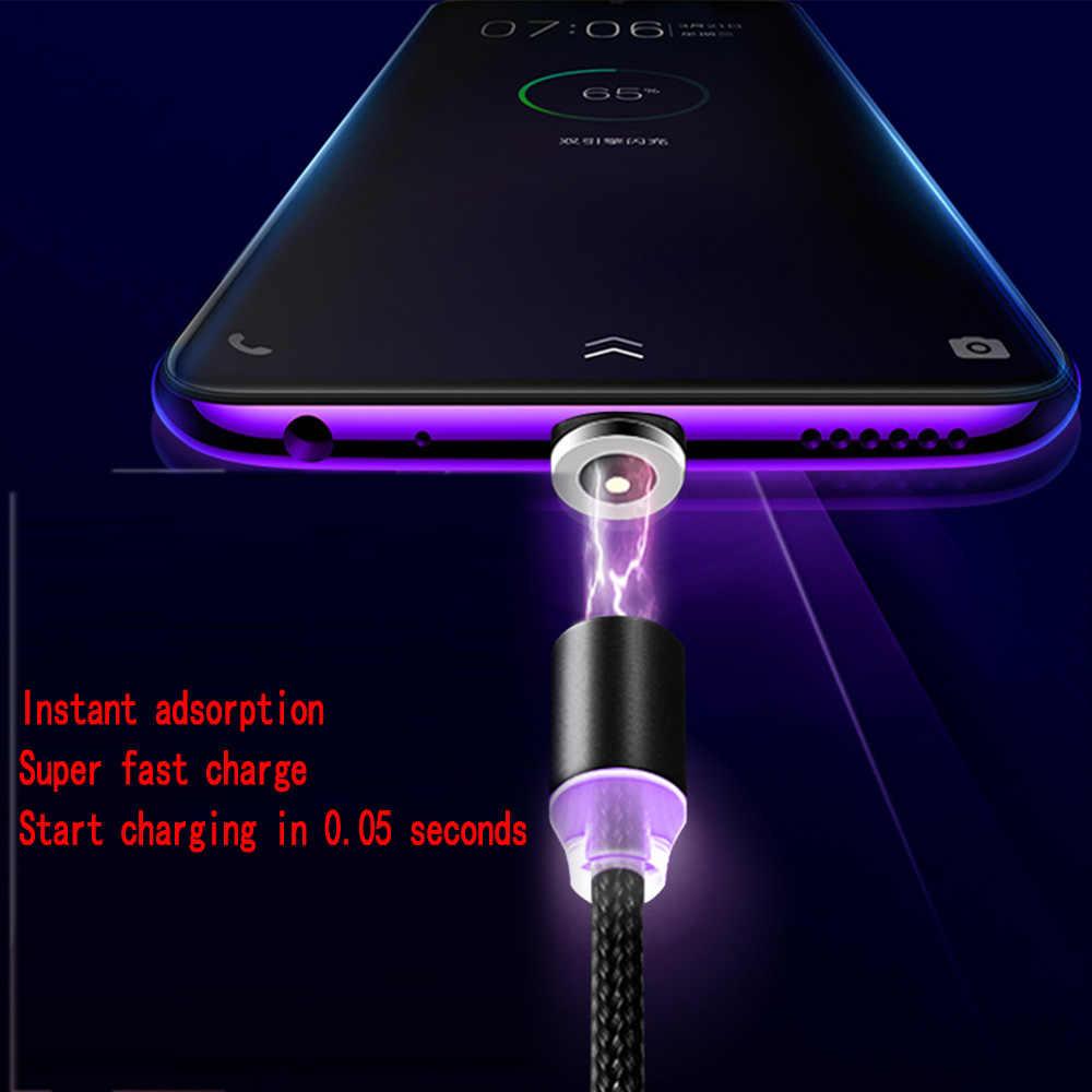 ĐÈN LED Từ Cáp USB/Micro USB/Loại C Cho Iphone X XS Max Sạc Nam Châm dành cho Samsung xiaomi Pocophone USB C