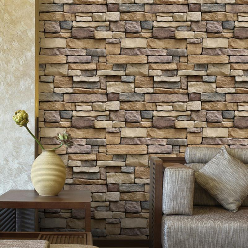 2017 vintage 3d brick wall paper modern brick stone for Decoration adhesif mural