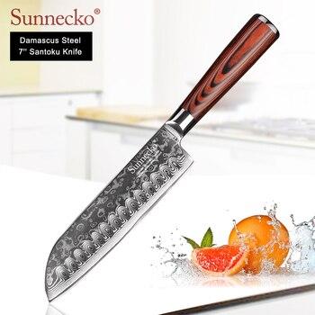 SUNNECKO 7 cal Santoku noże Damascus Steel japoński ostry nóż noże kuchenne drewno Pakka uchwyt mięso krajalnica do owoców nóż szefa kuchni