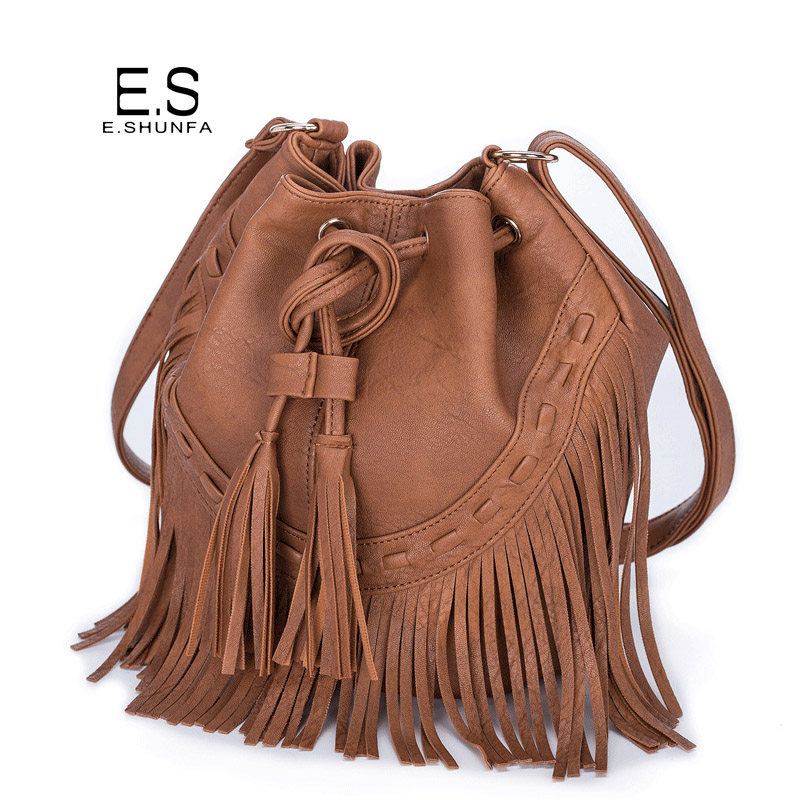 Tassel Shoulder Bags Women 2018 Fashion PU Leather Small Bucket Bag Black Brown Pink Gray Drawstring Casual Single Shoulder Bag 2018 women top quatily genuine leather luxury pineapple heel design style single shoes pineapple print thick soled high heel