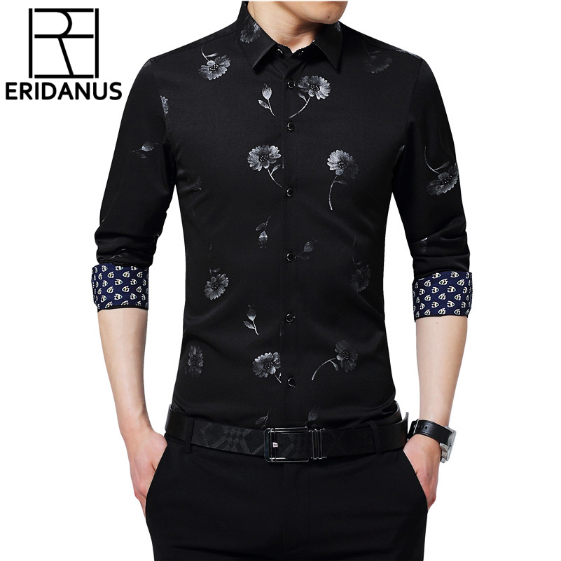 Men Shirts Brand Print Long Sleeve Male High Quality Shirts Casual Slim Fit Man Dress British Style Shirts Plus Size 5XL X703