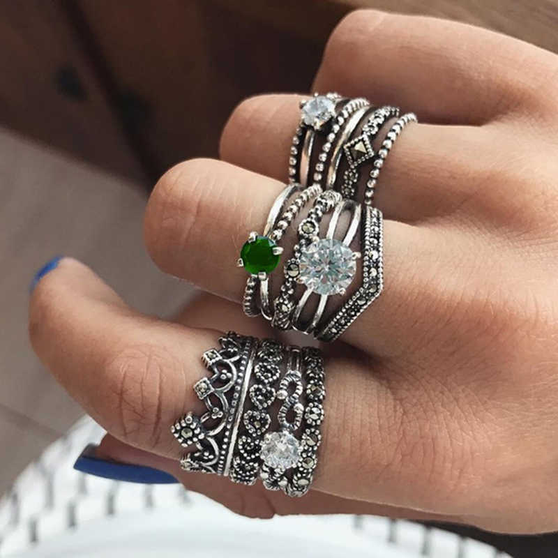 Tocona Antique Silver Green Crystal Ring Set Hollow Carving Crown Knuckle Rings for Women Ring Jewelry Statement 12pcs/set 5950