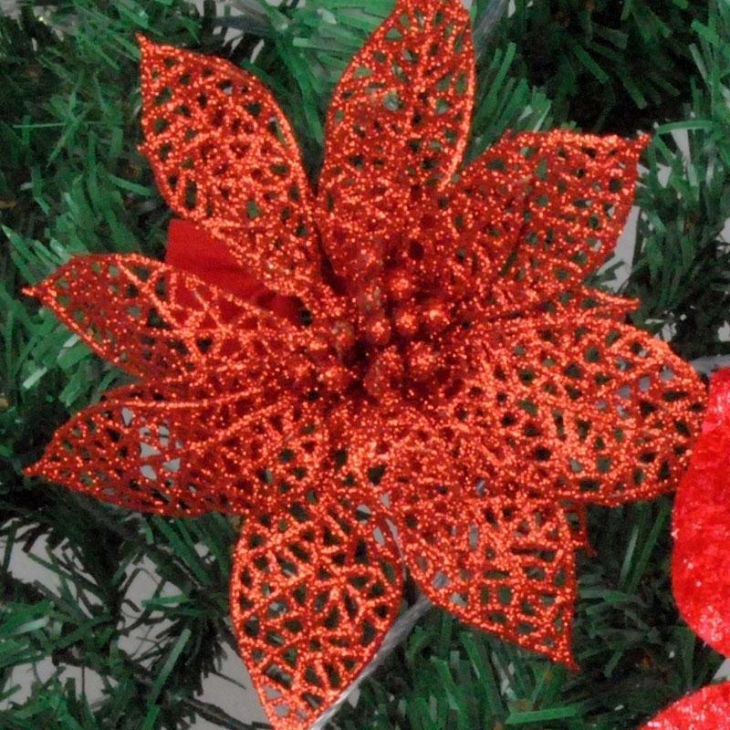 10 stk Glitter Hollow Flower Decoration Blomster til juletræer til - Varer til ferie og fester - Foto 5