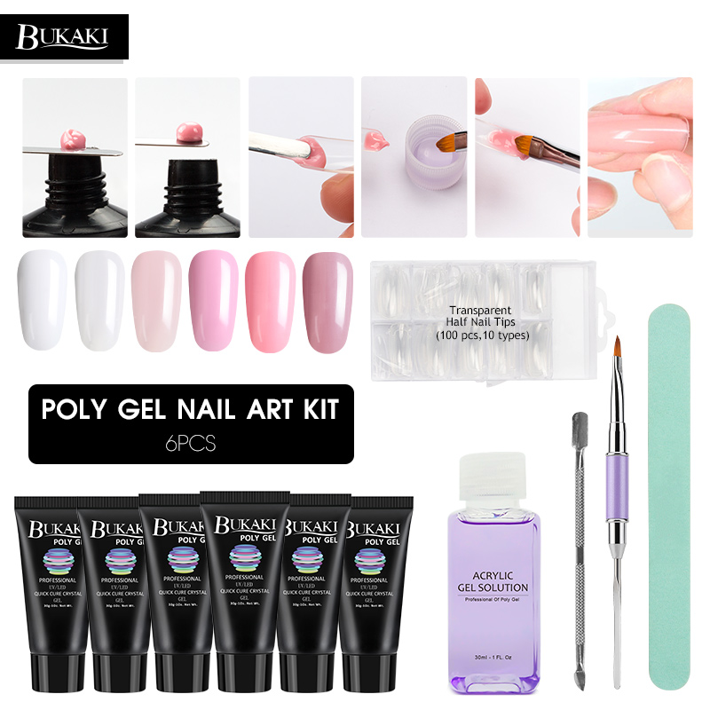BUKAKI 11 Pcs/set Acrylic Poly Gel Set Builder Extension Crystal Jelly UV Gel Poly Gel Varnish Set French Manicure Kits