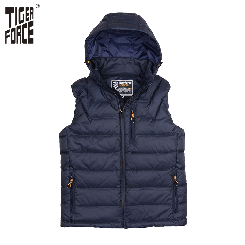 TIGER FORCE 2018 Hot Sale Men Down Vest 80%White Down Vest Sleeveless Jacket Detachable Hood Zipper Winter Jacket Free Shipping 5cmx5m gray tc material reflecterende stof for jacket and vest free shipping