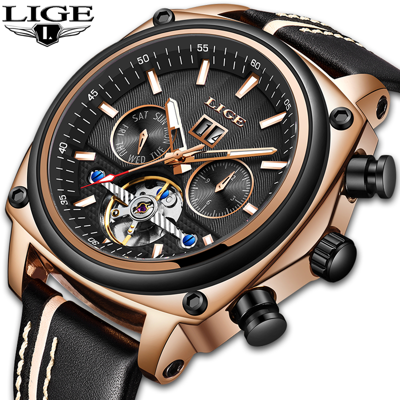 LIGE Brand Men Watches Automatic Mechanical Watch Tourbillon Sport Clock Leather Casual Business Retro Wristwatch Relojes