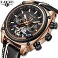 LIGE Marca Homens Relógios Turbilhão Relógio Mecânico Automático Relógio Do Esporte de Couro Business Casual Retro Relógio de Pulso Relojes Hombre