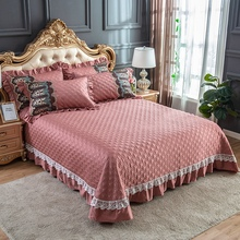 Pale Mauve Red Blue Gray Egyptian Cotton Luxury Lace Quilted Bedspread Bed Cover Sheet Blanket Summer Quilt Pillowcases 3pcs