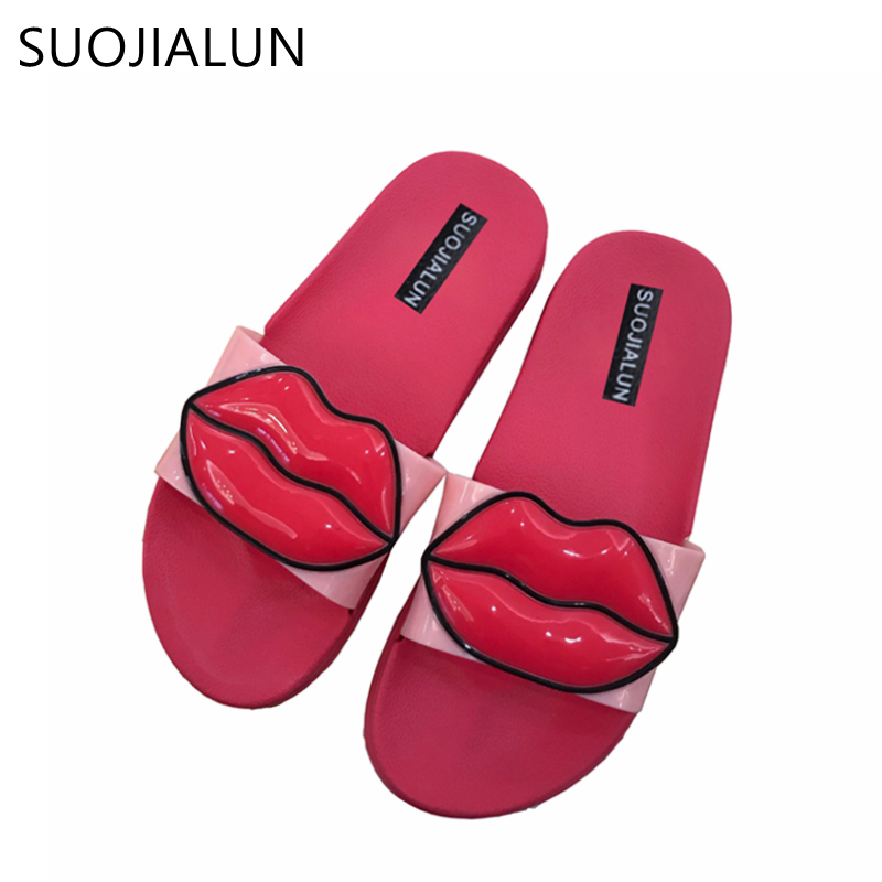 SUOJIALUN Slippers Women Slides Ladies Shoes Woman Fashion Sandals Summer Beach Women Flip Flops Flat Slippers Home Female women sandals 2017 summer shoes woman wedges fashion gladiator platform female slides ladies casual shoes flat comfortable