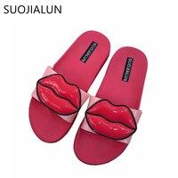 SUOJIALUN Slippers Women Slides Ladies Shoes Woman Fashion Sandals Summer Beach Women Flip Flops Flat Slippers