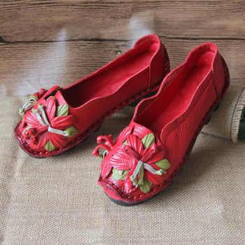 MVVJKE 2018 New Flowers Handmade Genuine Leather Shoes Women Retro Soft Bottom Flat Shoes Summer Canvas Ballet E115