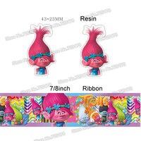printed cartoon movie character grosgrain ribbon and resin sets 7/8inch 50yard ribbon and 50pcs resin 1 set REB16