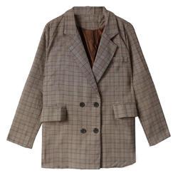 Осень 2017 г. весна плед с длинным Блейзер Для женщин двубортный блейзер с длинными рукавами пиджак женский Повседневное пальто мода