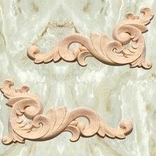 Wood carving Decal Corner Applique Frame Door Decorate Wall Doors Furniture Decorative Figurines Wooden Miniatures