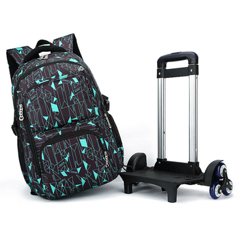 ZIRANYU Latest Removable Children School Bags 2/6 Wheels Stairs Kids boys girls Trolley Schoolbag Luggage Book Bags Backpack School Bags