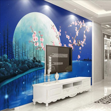 Factory direct dream blue moonlight flowers and plum blossom artistic background wall