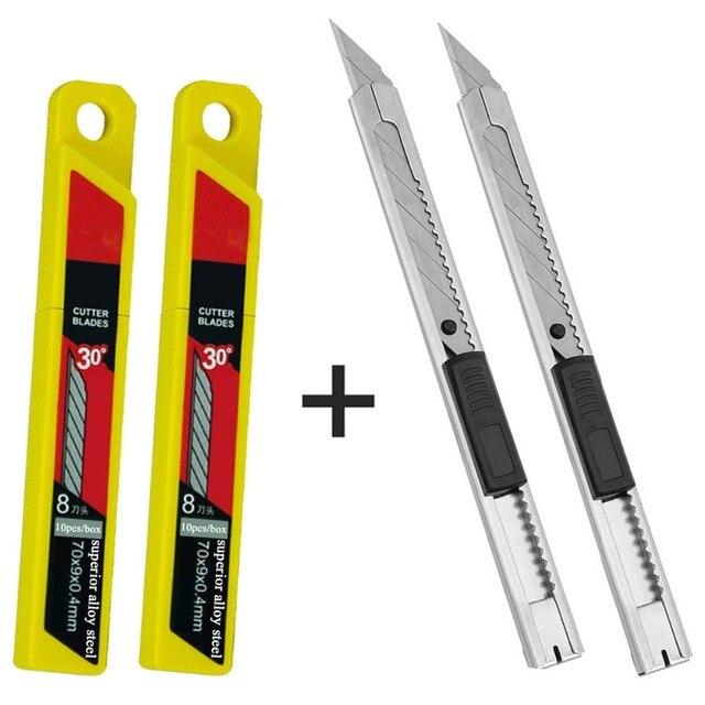 CNGZSY 2 יחידות מיני אמנות סכיני שירות 20 יחידות נירוסטה להבי DIY סכין ויניל סרט חותך רכב גלישת לחתוך כלים 2E02 + 2E03
