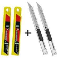 CNGZSY Mini cuchillos de utilidad artística, 20 piezas Uds., cuchillas de acero inoxidable, cortador de película de vinilo, herramientas de corte para envolver el coche 2E02 + 2E03