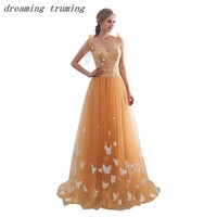 Orange Prom Dresses 2019 3D Butterfly A Line Tulle Sleeveless Floor Length Backless Spring Summer Formal Evening Gown In Stock