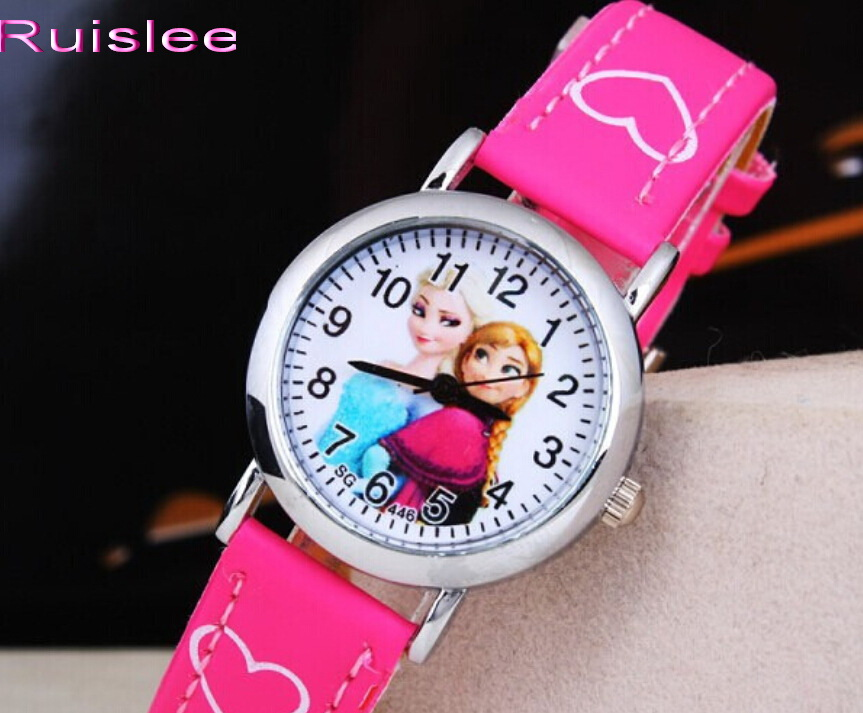 New Cute Snow Queen Princess Watch Cartoon 3D Children Kids Girls Quartz Quartz Analog Watches Toys Gifts Promotion Clock Hour lovely watch new year gifts for children s wrist watch analog quartz watches kids watches rabbit cartoon yellow leather band
