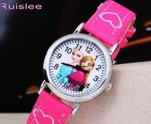 New Cute Snow Queen Princess Watch Cartoon 3D Children Kids Girls Quartz Quartz Analog Watches Toys Gifts Promotion Clock Hour