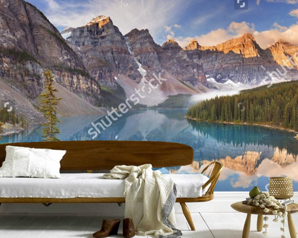 Custom 3D large murals,Canada Parks Lake Mountains Moraine Lake Nature wallpapers , living room sofa TV wall bedroom wall paper парка canada goose 9512m 66