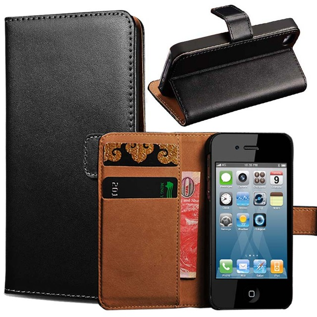 reputable site 0acd4 594ec US $2.84 |4S Genuine Leather Wallet Stand Case for iPhone 4 4S Flip Phone  Case for iPhone4 with Card Holder 2 Styles Flip & Wallet Cover on ...