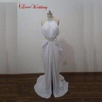 Hot Sale Trumpet Mermaid High Neck Evening Dress Beaded Rhinestone White Prom Dresses 2015 Ruffles Sexy