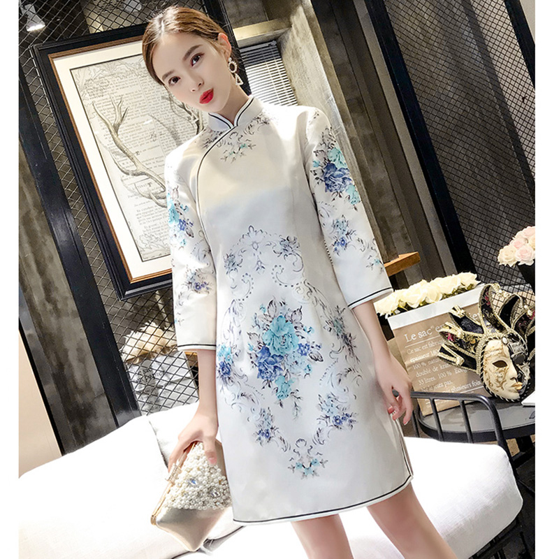 Spring Autumn Three Quarter Sleeve Female Cheongsam Chinese Style Print Flower Dress Novelty Mandarin Collar Qipao