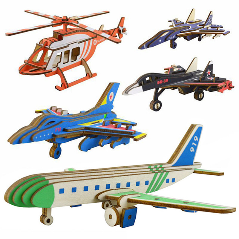 3d Wooden Puzzles For Children Airplane Model Assembling Building Kits Iq Educational Toys For Children Gift Toy Handcraft Kit To Ensure A Like-New Appearance Indefinably