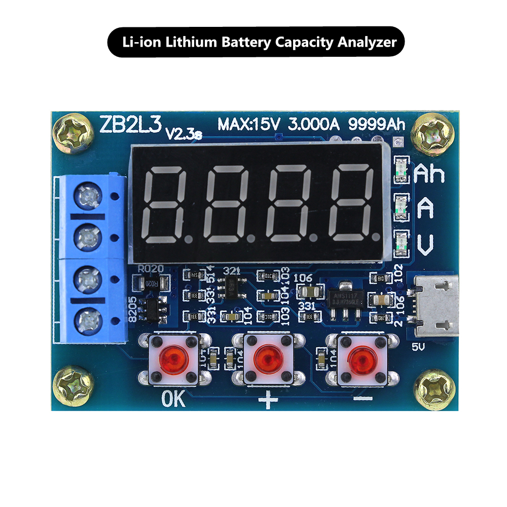 zb2l3 li ion lithium battery capacity tester resistance lead acid battery capacity meter discharge tester analyzer [ 1000 x 1000 Pixel ]