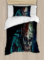 Duvet Cover Set Man Shot in Head with Bloody Details Fearful Monster Design Vampire Fantasy Print, 4 Piece Bedding Set