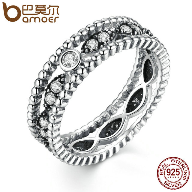 BAMOER Popular Hot Sale 925 Sterling Silver 2 pcs DIY Finger Ring with Stone Women Fashion Wedding Jewelry SCR010