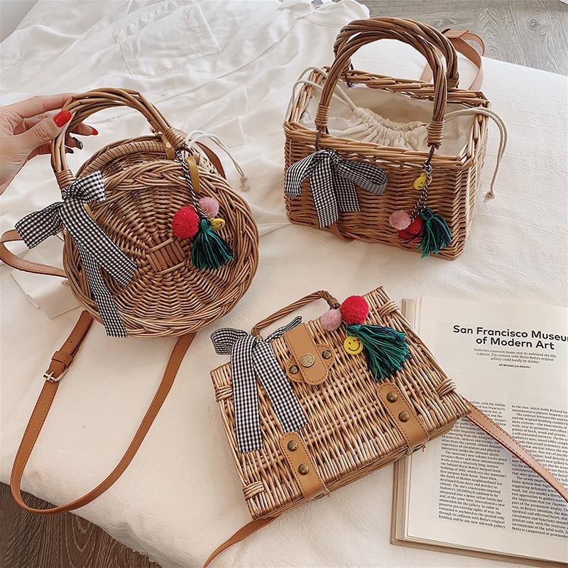 Women/'s Rattan Woven Handbag Girls Straw Messenger Bag Summer Beach Shoulder Lot