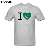 Amazing Tshirts Men S Short Sleeve O Neck I Love Pakistan Flag Pattern Adult Clothes Tops