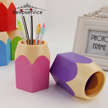 Plastic Candy Pen Holders Novelty Pencil Vase Makeup Brush Pot Desk Pen Container Organizer Stationery School Office Supplies