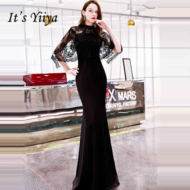 Detail Feedback Questions about It s YiiYa Evening Dress 2018 Lace  Patchwork O neck Black Trumpet Floor length Back Zipper Dinner Gowns LX1297  robe de ... dc1a66082285
