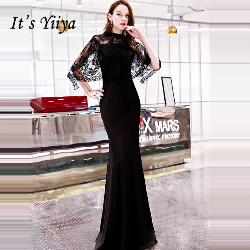 It's YiiYa   Evening     Dress   2018 Lace Patchwork O-neck Black Trumpet Floor-length Back Zipper Dinner Gowns LX1297 robe de soiree