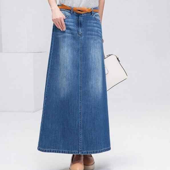 נקבה ארוך חצאיות נשים מקסי חצאית ג 'ינס גבירותיי בתוספת גודל חצאית טוטו רטרו בציר מקסי ג' ינס חצאיות נשים גבוהה מותן DF996