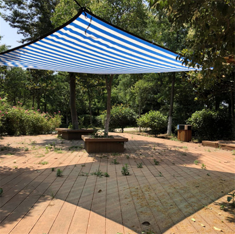 Divers Taille Bleu blanc couleur Soleil Abri Maille PEHD Ombre Net avec accrocher trou par mètre pour Camping piscine couverture d'ombre dans Abri du soleil de Sports et loisirs