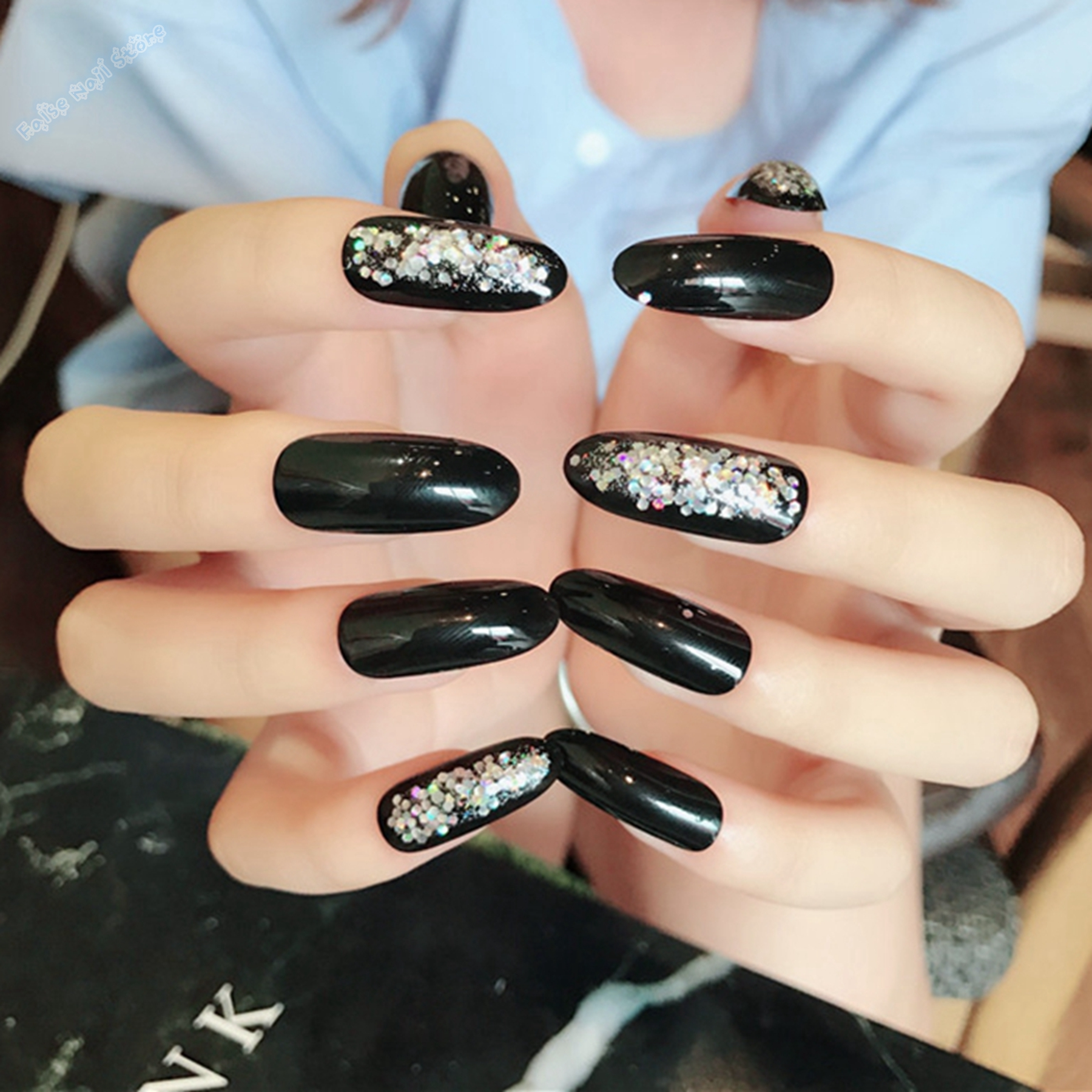 Fine Glitter Tips Acrylic Nails Ornament - Nail Art Ideas - morihati.com